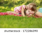 a mama and her little daughter...   Shutterstock . vector #172286390