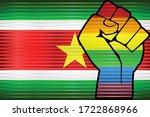 shiny lgbt protest fist on a... | Shutterstock .eps vector #1722868966