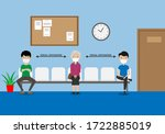 social distance in the waiting... | Shutterstock .eps vector #1722885019