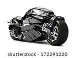 Futuristic custom motorcycle concept on a white background. - stock photo