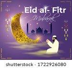 eid al fitr  mubarak text means ... | Shutterstock .eps vector #1722926080