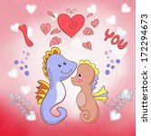 lovers seahorses greeting card... | Shutterstock .eps vector #172294673