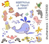 collection of marine animals... | Shutterstock .eps vector #172295030
