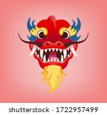 Red Dragon Head With Open Jaws. ...