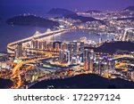 Busan, South Korea aerial view at night. - stock photo