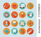 set medical flat icons. | Shutterstock .eps vector #172298834