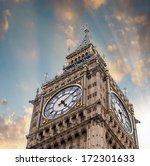 The Big Ben Tower Top In Londo...
