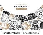 breakfast vintage top view... | Shutterstock .eps vector #1723036819