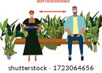 people in park on bench.... | Shutterstock .eps vector #1723064656