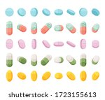 set of realistic pills  tablets ... | Shutterstock .eps vector #1723155613