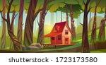 wood house in forest or garden. ... | Shutterstock .eps vector #1723173580