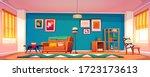 living room interior in boho...   Shutterstock .eps vector #1723173613