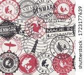 denmark set of stamps. travel... | Shutterstock .eps vector #1723177639