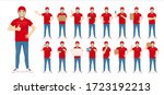 handsome delivery man in red... | Shutterstock .eps vector #1723192213