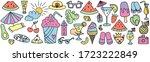 summer doodles big set. hand... | Shutterstock .eps vector #1723222849