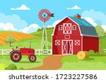 Red Barn With A Tractor And A...