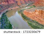 Canyon of Colorado RIver and highway in Utah above Moab - aerial view in morning scenery, travel America concept - stock photo