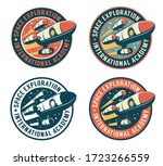 space badge with flying rocket. ... | Shutterstock .eps vector #1723266559