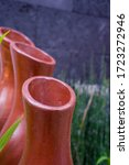 Pot Made Of Clay Set In Rows A...