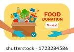 volunteer holding a donation... | Shutterstock .eps vector #1723284586