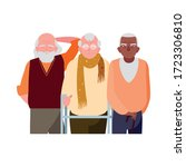 happy elderly men sharing at... | Shutterstock .eps vector #1723306810