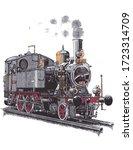 Old Steam Locomotive  On Rail...