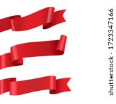 red ribbon big set isolated   Shutterstock . vector #1723347166
