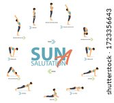 12 yoga poses for yoga at home... | Shutterstock .eps vector #1723356643