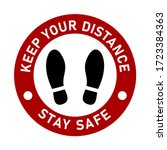 stand here keep your distance... | Shutterstock .eps vector #1723384363