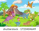 Group Of Funny Dinosaurs In The ...