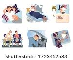 sleepy man concept series  ... | Shutterstock .eps vector #1723452583