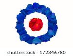 Dried rose petals in abstract British Royal Air Force roundel, also used as symbol of mod music.