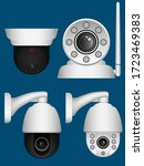 set of security camera. graphic ... | Shutterstock .eps vector #1723469383