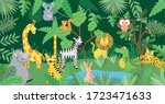 jungle with wild animals... | Shutterstock .eps vector #1723471633