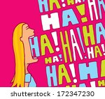 cartoon blond woman laughing in ... | Shutterstock .eps vector #172347230