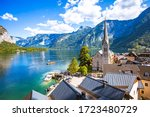 Beautiful view point of Hallstatt heritage village summer  in Austria