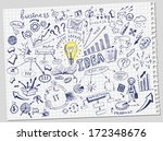 hand drawn business doodles set | Shutterstock .eps vector #172348676