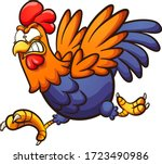 angry running cartoon rooster.... | Shutterstock .eps vector #1723490986
