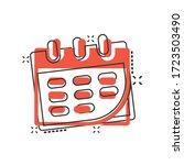 calendar icon in comic style.... | Shutterstock .eps vector #1723503490