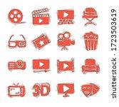 cinema line icons in comic... | Shutterstock .eps vector #1723503619