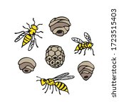 collection of wasps and wasp... | Shutterstock .eps vector #1723515403