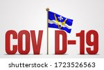 Shawinigan realistic 3D flag illustration. Red 3D COVID-19 text rendering.