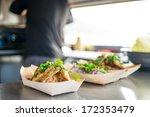 chicken breasts being served to ... | Shutterstock . vector #172353479