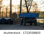 Old Blue Flatbed For Straw Bales