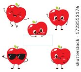 apple character with funny face.... | Shutterstock .eps vector #1723553176