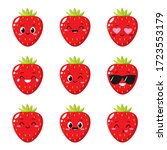 strawberry character with funny ...   Shutterstock .eps vector #1723553179
