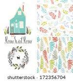 home sweet home  floral fern...   Shutterstock .eps vector #172356704