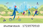 businesswoman rider. millennial ... | Shutterstock .eps vector #1723570510