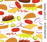 burger with flying ingredients... | Shutterstock .eps vector #1723574050