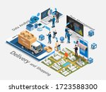 ecommerce market  isometric and ... | Shutterstock .eps vector #1723588300